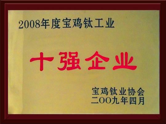Десятка лучших предприятий титановой промышленности в 2008 году
